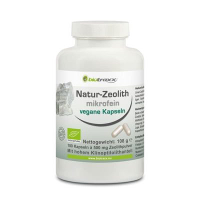 Biotraxx Natural Zeolite Clinoptilolite 180 capsules 500 mg each  microfine quality